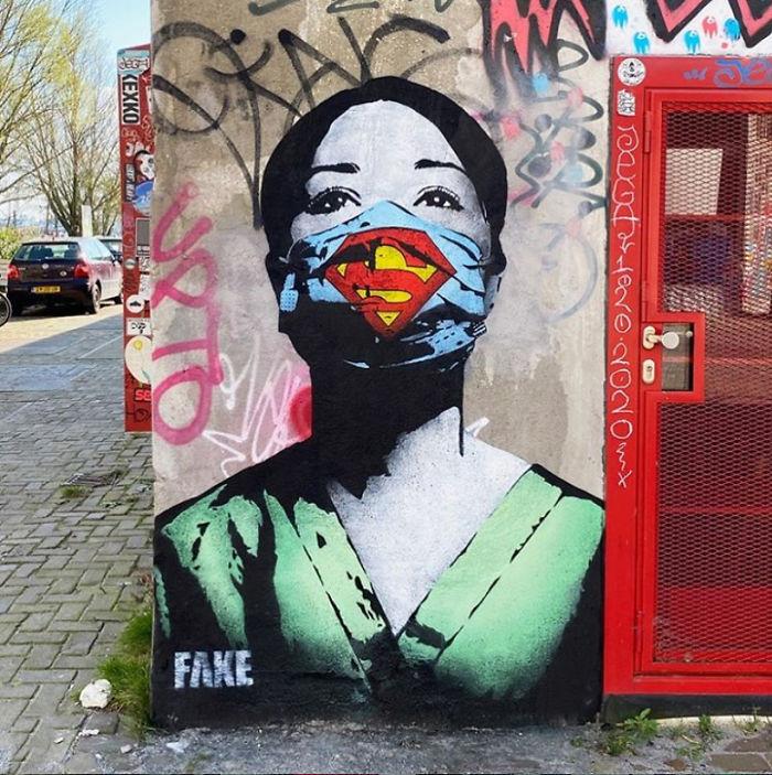 全球新冠肺炎疫情下世界各地的街头涂鸦艺术插图