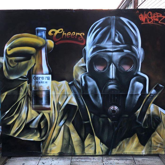 全球新冠肺炎疫情下世界各地的街头涂鸦艺术插图(12)