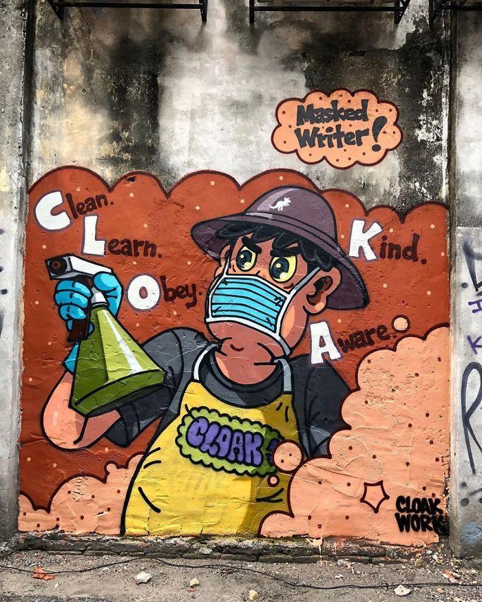 全球新冠肺炎疫情下世界各地的街头涂鸦艺术插图(24)