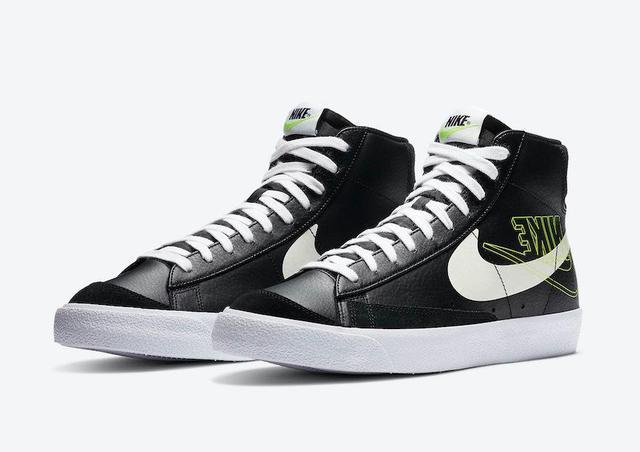 全新黑/白/荧光黄配色NikeBlazerMid官方产品照,反向双logo第一次登场