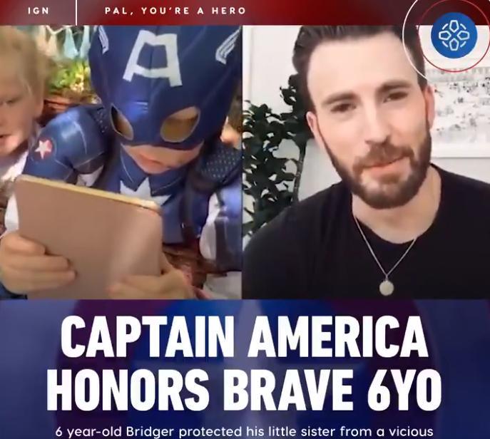 克里斯·埃文斯将真正的美国队长盾牌送给拯救了妹妹免受狗袭击的男孩英雄