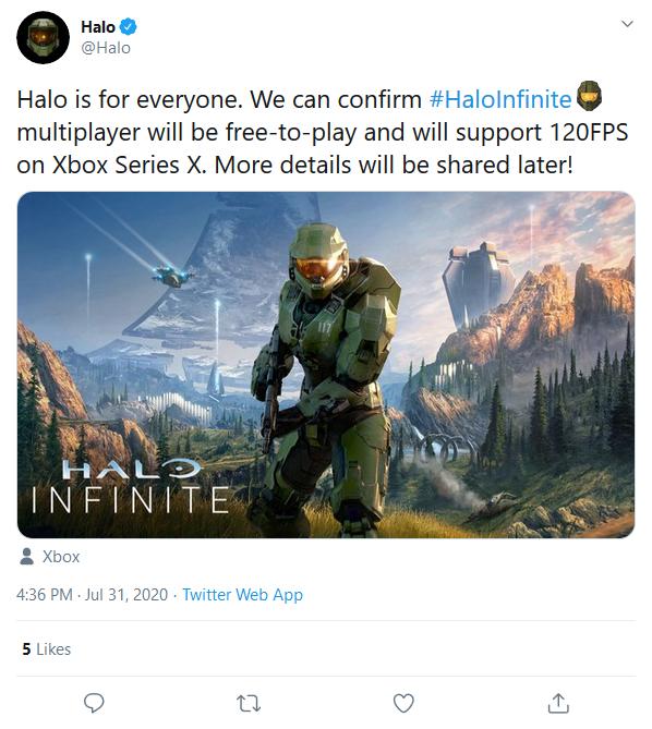 《光环:无限》多人游戏版本免费,并将在Xbox Series X上支持120FPS