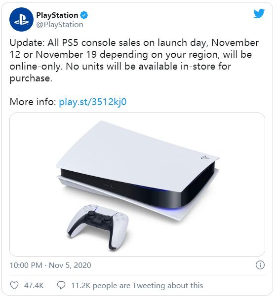 索尼宣布PS5将于发售日当天不提供店内售卖