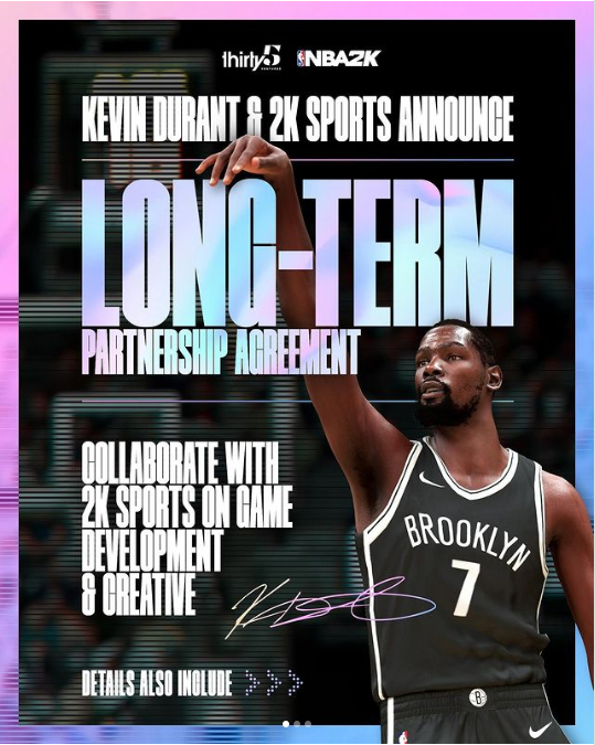 凯文·杜兰特和NBA 2K达成长期合作伙伴关系