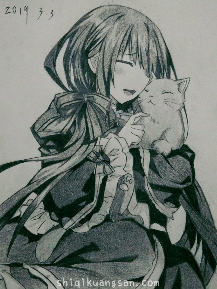 [狂三手绘]画个三三和猫咪祝自己生日快乐_图片 No.2