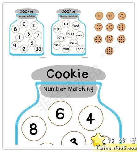 <图>Cookie Number Matching3页饼干罐子数字配对——DIY手工书安静书英语数字启蒙图片