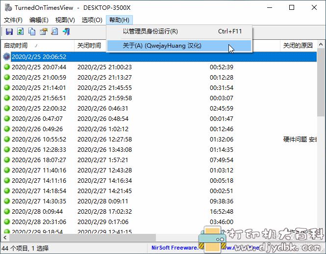 电脑开关机记录查询软件 TurnedOnTimesView 1.42单文件绿色汉化版图片