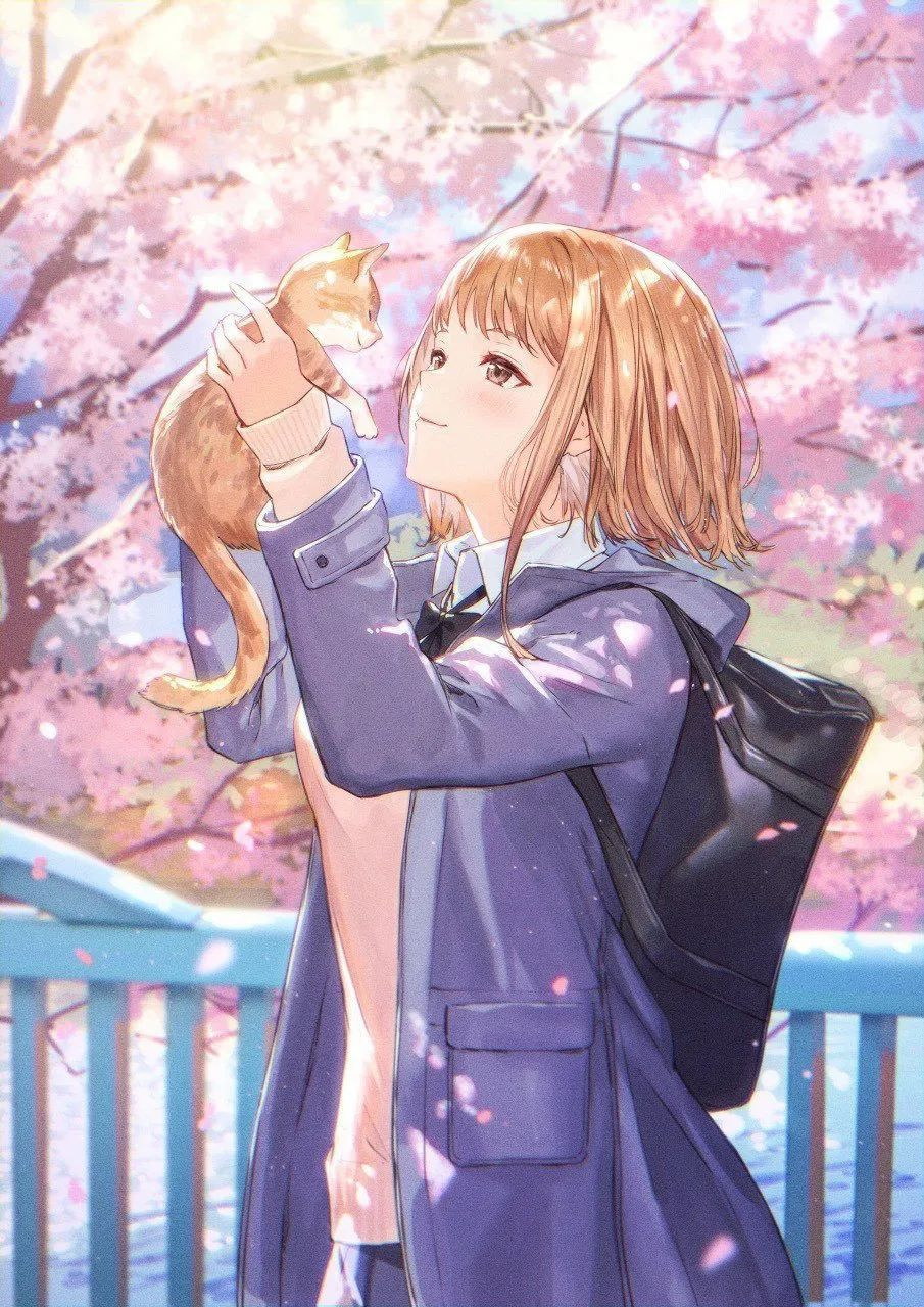 4月12日,二次元美图!JK短裙与粉色樱花配一脸!_图片 No.13