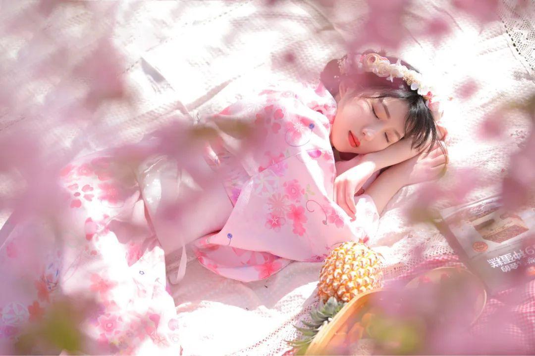 妹子摄影 – 粉粉的日系少女樱花树下写真_图片 No.5