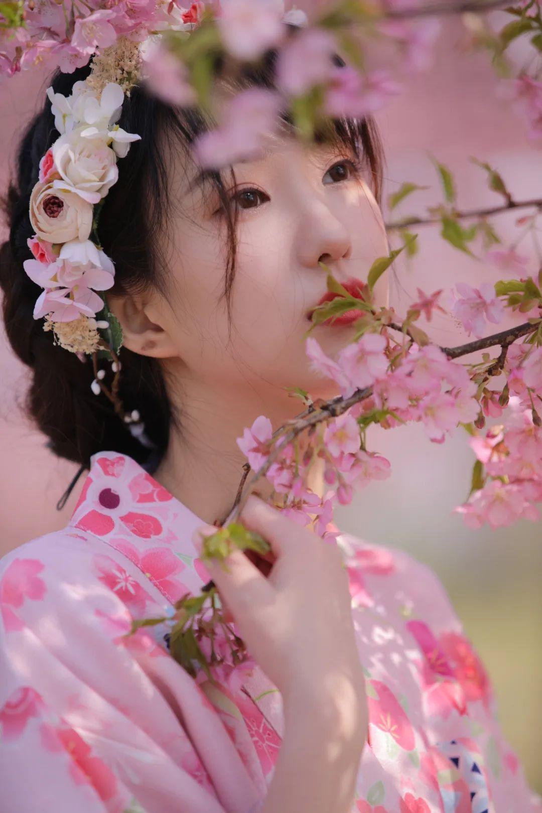 妹子摄影 – 粉粉的日系少女樱花树下写真_图片 No.7