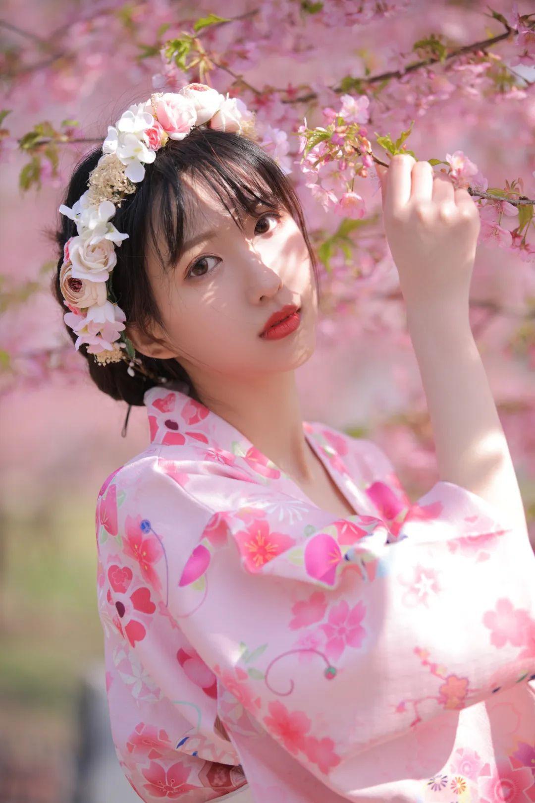 妹子摄影 – 粉粉的日系少女樱花树下写真_图片 No.8