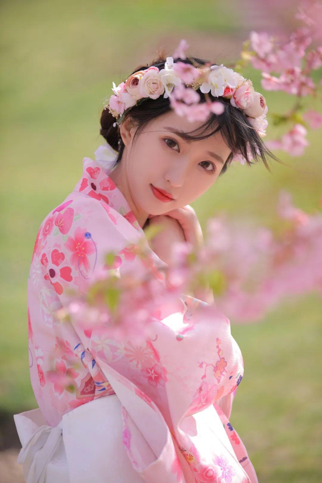 妹子摄影 – 粉粉的日系少女樱花树下写真_图片 No.11