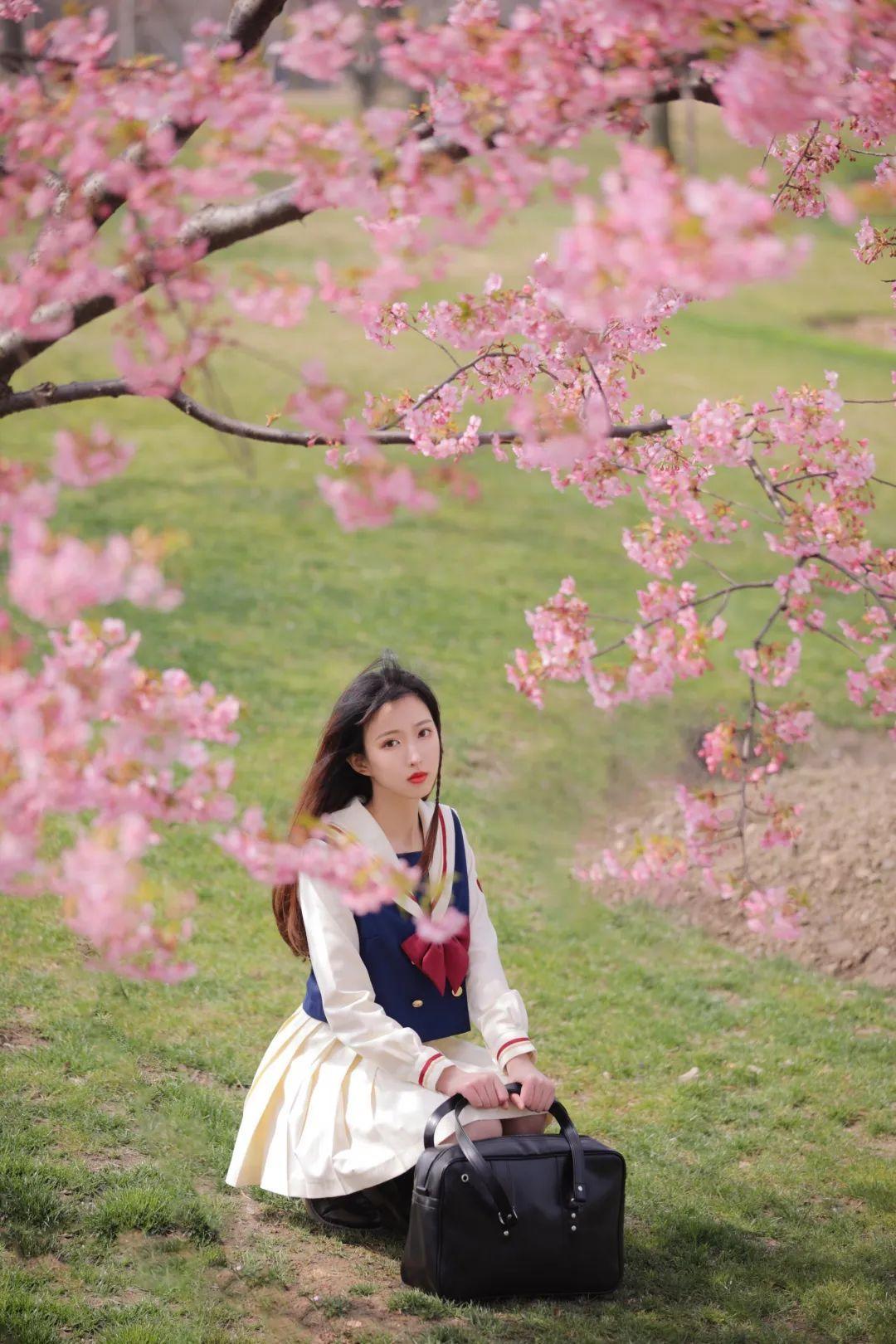 妹子摄影 – 粉粉的日系少女樱花树下写真_图片 No.12