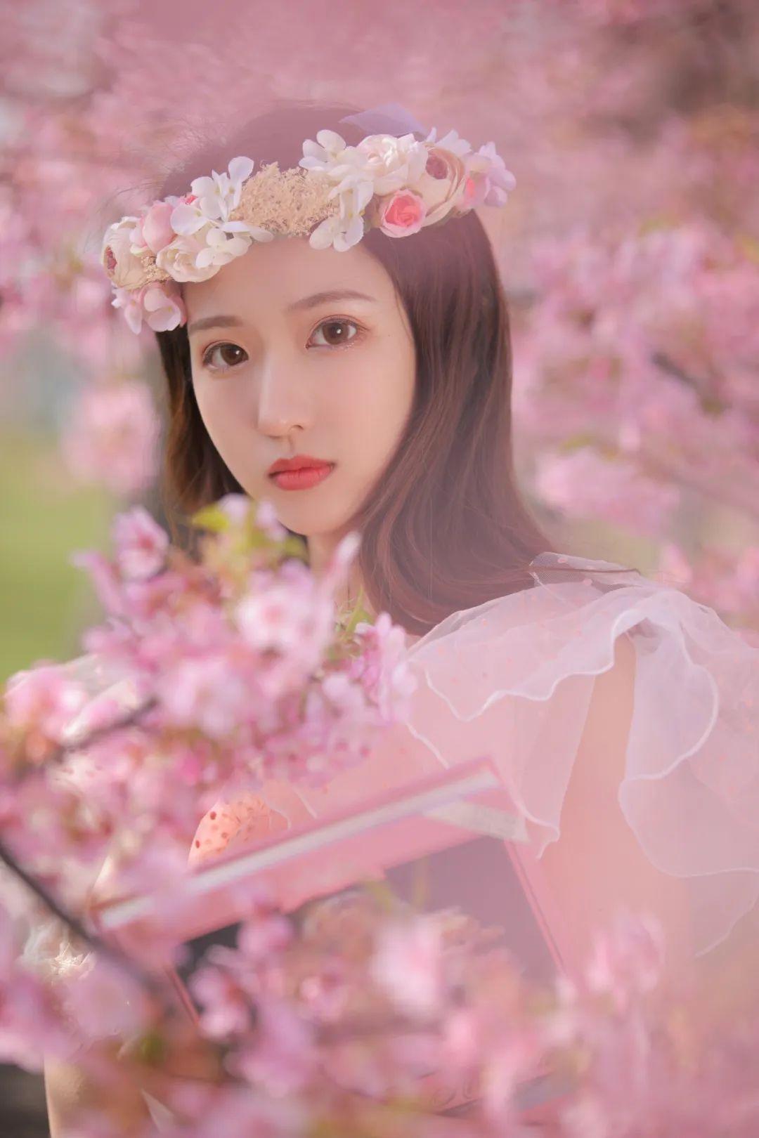 妹子摄影 – 粉粉的日系少女樱花树下写真_图片 No.14