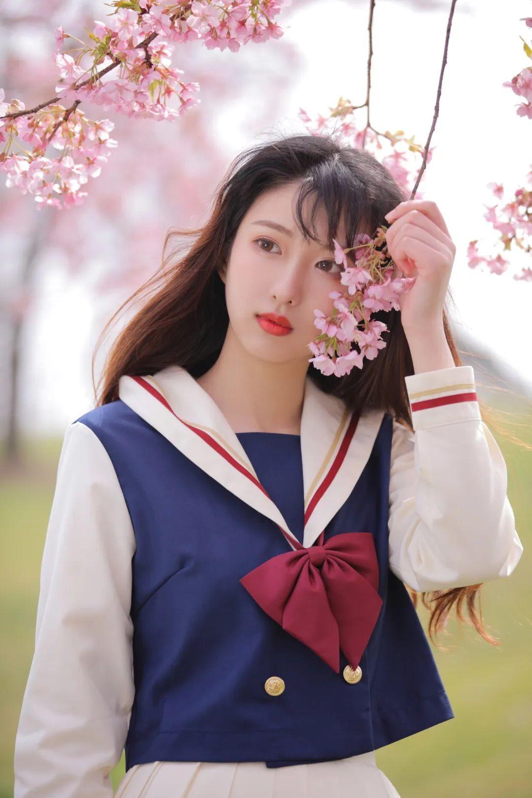 妹子摄影 – 粉粉的日系少女樱花树下写真_图片 No.15