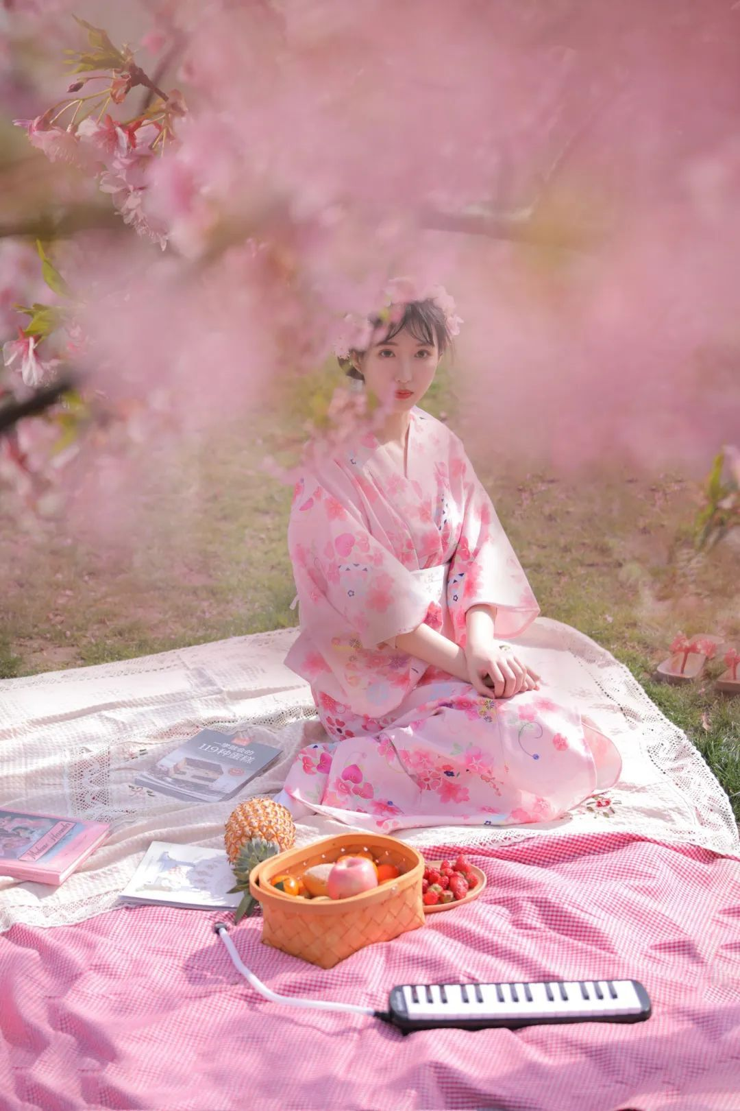 妹子摄影 – 粉粉的日系少女樱花树下写真_图片 No.16