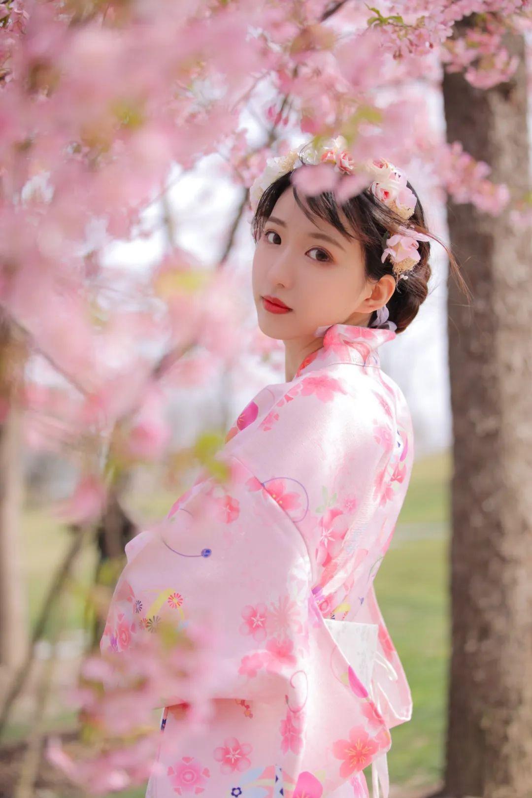 妹子摄影 – 粉粉的日系少女樱花树下写真_图片 No.18