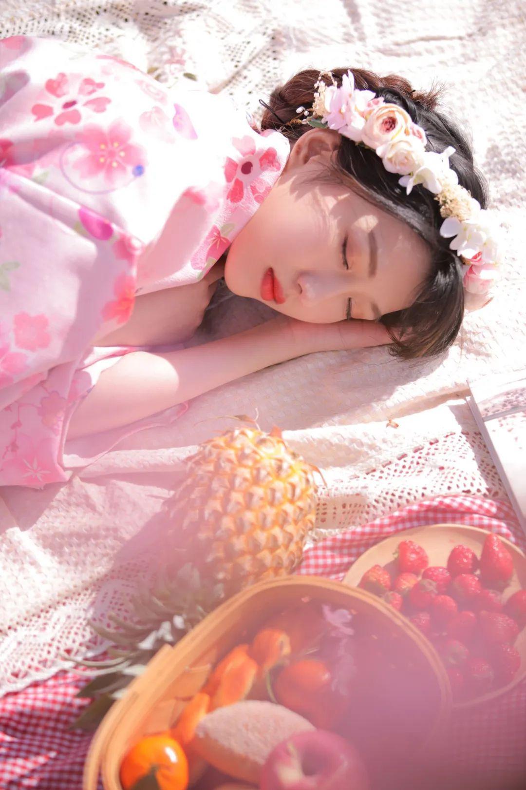 妹子摄影 – 粉粉的日系少女樱花树下写真_图片 No.23