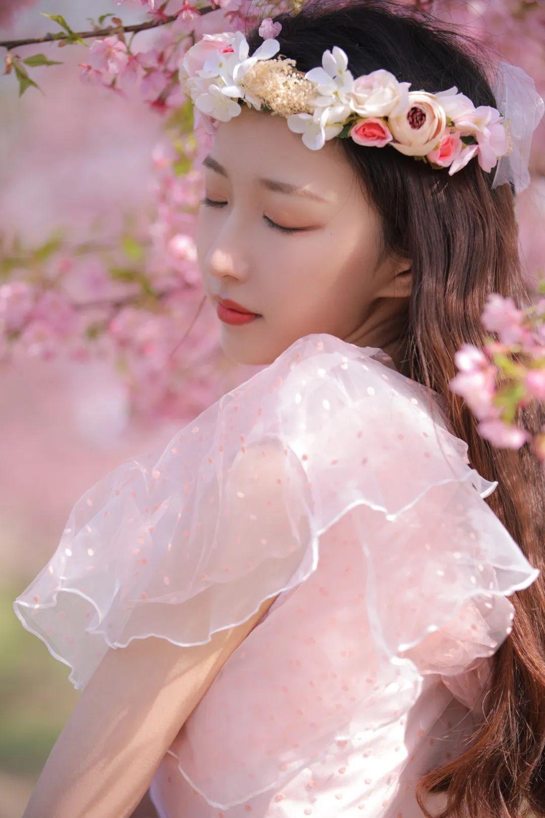 妹子摄影 – 粉粉的日系少女樱花树下写真_图片 No.24