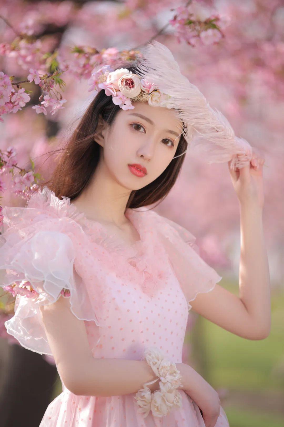 妹子摄影 – 粉粉的日系少女樱花树下写真_图片 No.26