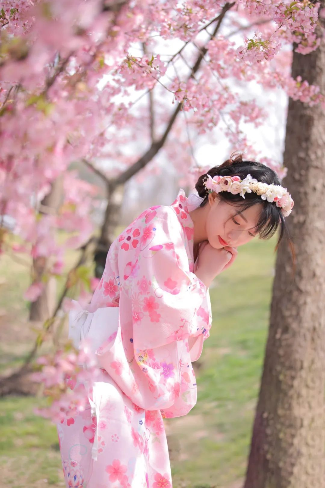 妹子摄影 – 粉粉的日系少女樱花树下写真_图片 No.27