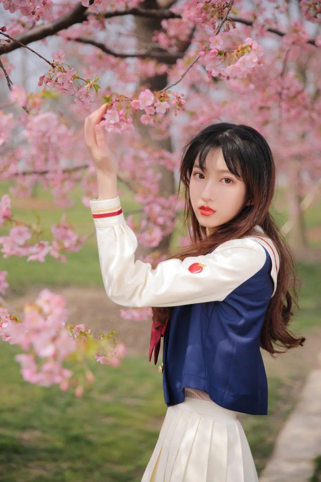 妹子摄影 – 粉粉的日系少女樱花树下写真_图片 No.30