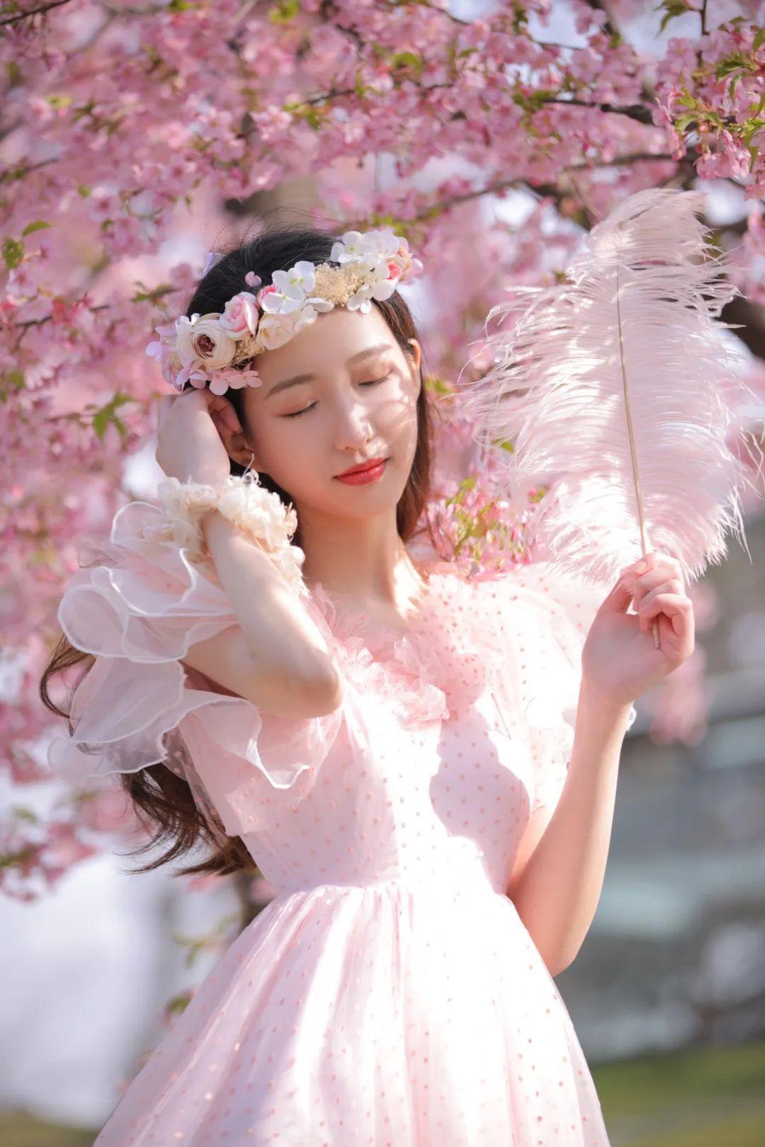 妹子摄影 – 粉粉的日系少女樱花树下写真_图片 No.33