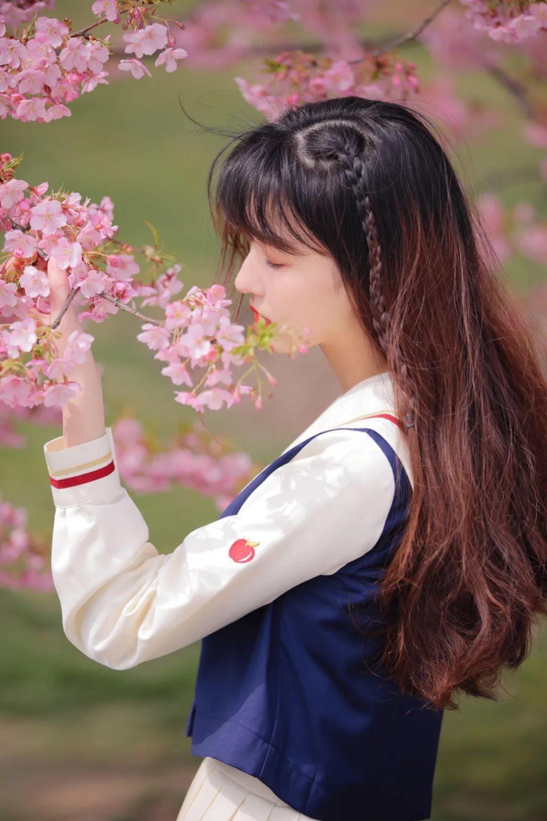 妹子摄影 – 粉粉的日系少女樱花树下写真_图片 No.35