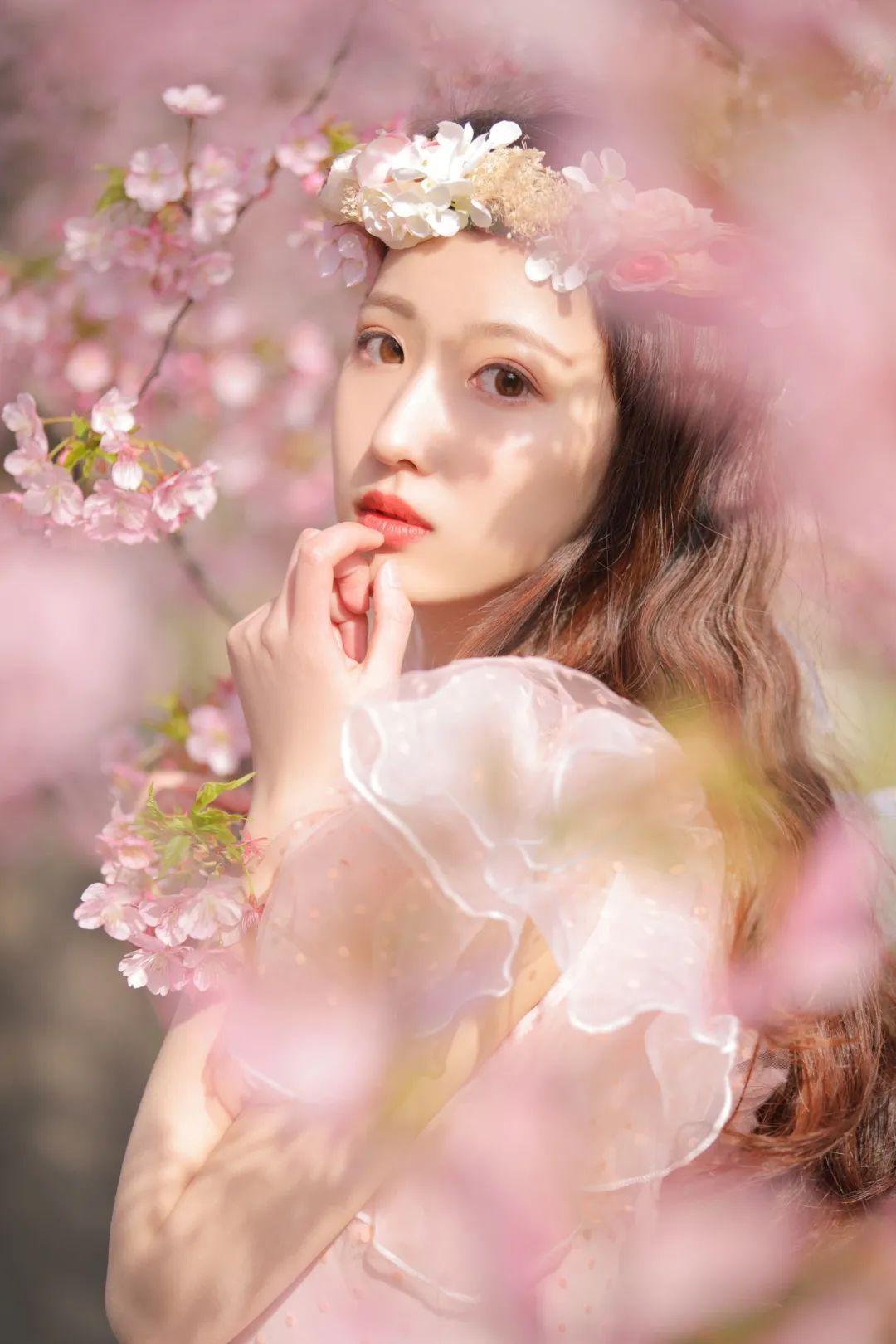 妹子摄影 – 粉粉的日系少女樱花树下写真_图片 No.38