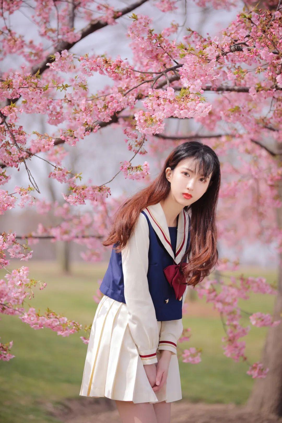 妹子摄影 – 粉粉的日系少女樱花树下写真_图片 No.39