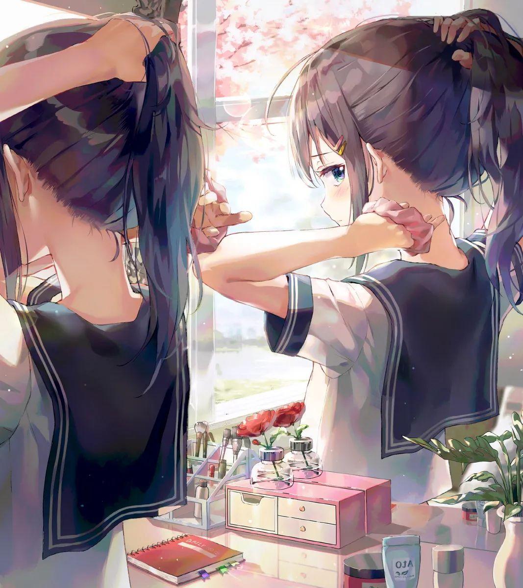 每日动漫美图 462期,水手服少女对窗梳头发_图片 No.1