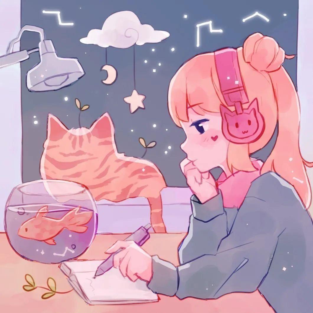 4月19日,P站二次元美图!画师Ins acatcie作品,粉色少女可可爱爱_图片 No.8