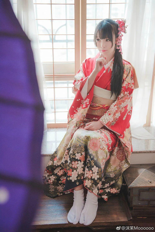 妹子摄影 – 和服少女嗅花香_图片 No.6