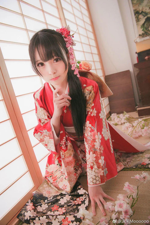 妹子摄影 – 和服少女嗅花香_图片 No.7