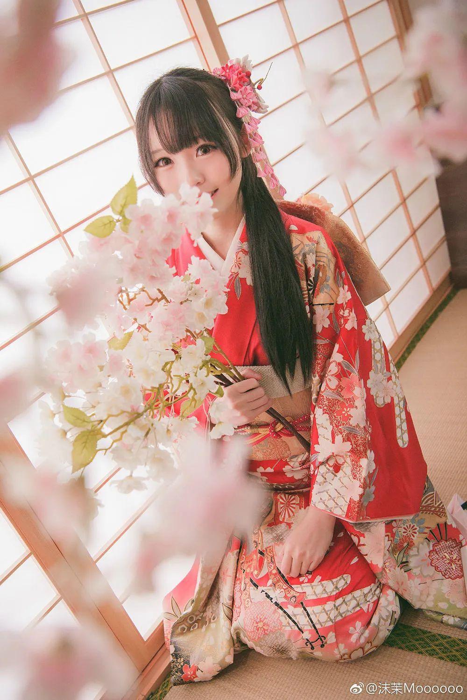 妹子摄影 – 和服少女嗅花香_图片 No.8