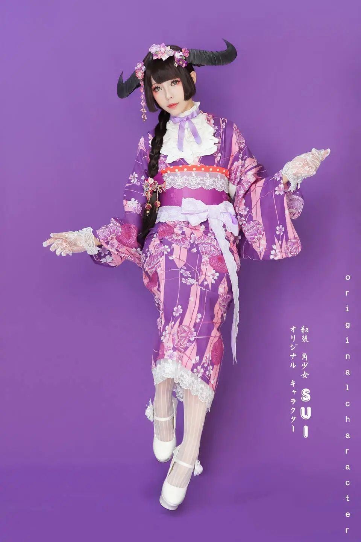 妹子摄影 – 头戴弯牛角的和服小姐姐_图片 No.1
