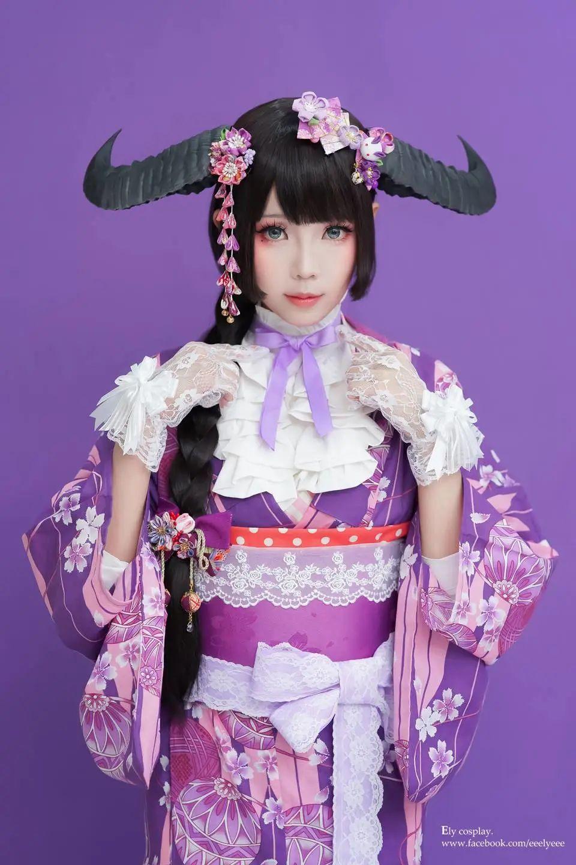 妹子摄影 – 头戴弯牛角的和服小姐姐_图片 No.4