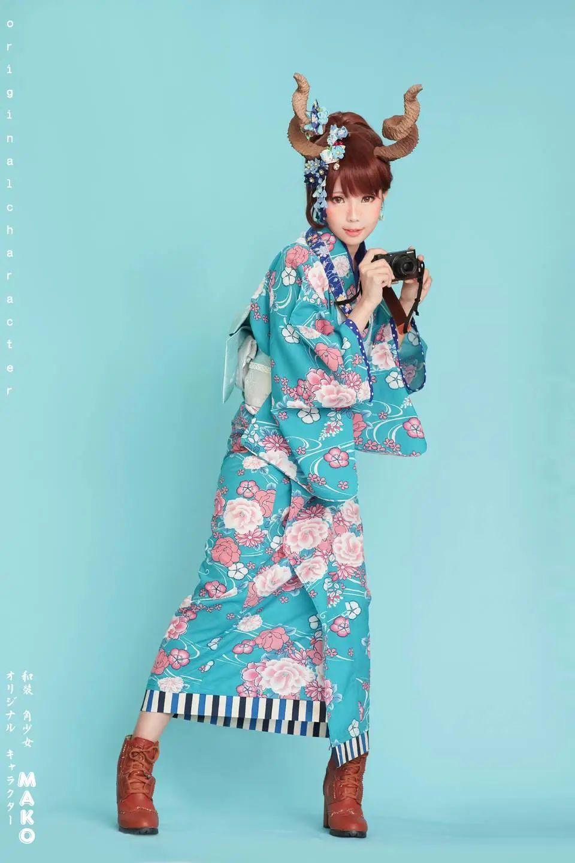 妹子摄影 – 头戴弯牛角的和服小姐姐_图片 No.5