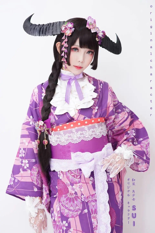 妹子摄影 – 头戴弯牛角的和服小姐姐_图片 No.6