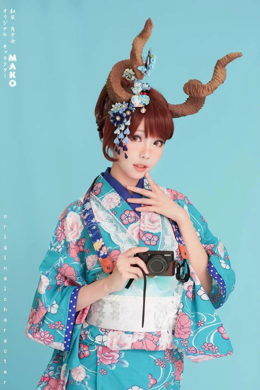 妹子摄影 – 头戴弯牛角的和服小姐姐_图片 No.11