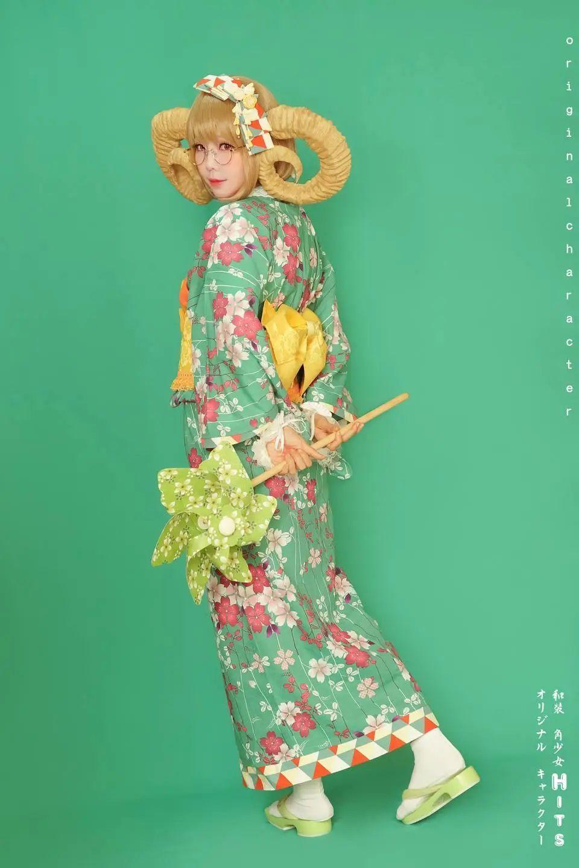 妹子摄影 – 头戴弯牛角的和服小姐姐_图片 No.14