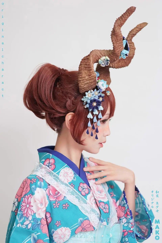妹子摄影 – 头戴弯牛角的和服小姐姐_图片 No.15