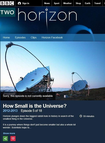 [英语中英字幕]天文纪录片-BBC 地平线: 宇宙何其小 Horizon: How Small Is the Universe? (2012) 全1集图片