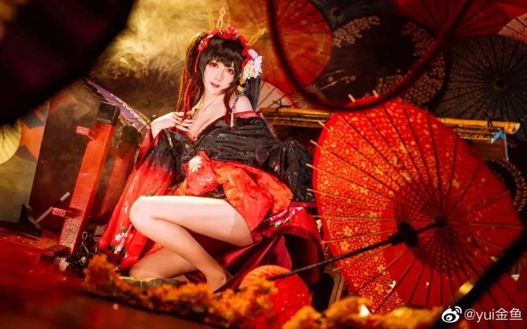 [狂三cosplay]yui金鱼小姐姐,艳丽和服狂三,媚感十足_图片 No.1