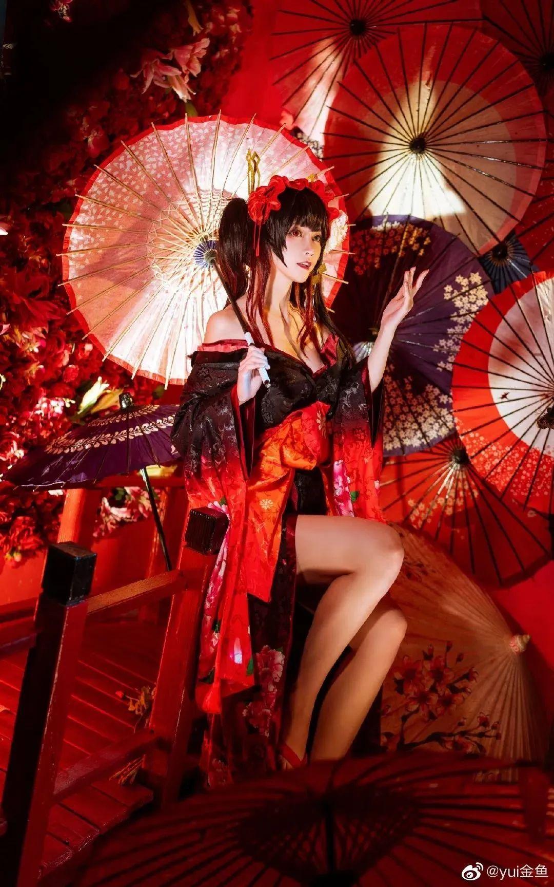 [狂三cosplay]yui金鱼小姐姐,艳丽和服狂三,媚感十足_图片 No.2