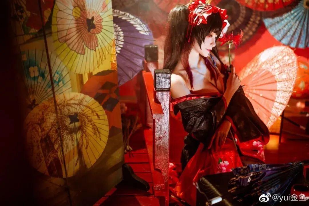 [狂三cosplay]yui金鱼小姐姐,艳丽和服狂三,媚感十足_图片 No.4