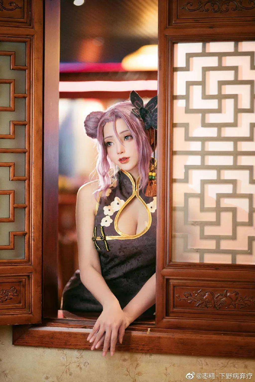 Cosplay—双生视界 沐恩,短款旗袍,肉丝高跟鞋_图片 No.4