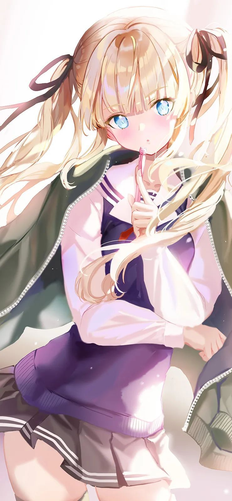 【二次元动漫壁纸集】优质动漫壁纸,金发双马尾JK短裙少女太好看了_图片 No.1