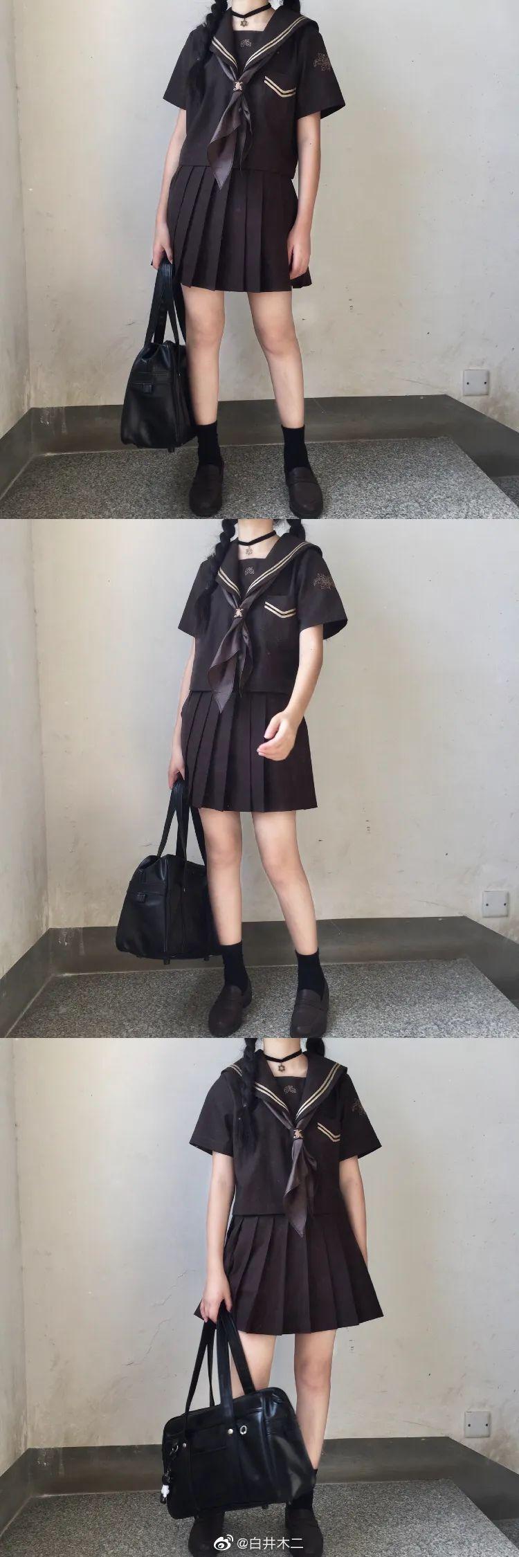 妹子摄影 – 黑色JK制服小裙子的梨涡少女@白井木二_图片 No.2