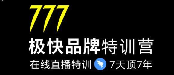7日极快品牌特训营 在线直播特训课:7天顶7年,品牌生存的终极密码【视频教程】 配图